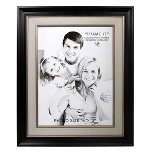Black & Linen Slim Photo Frame 12x16""