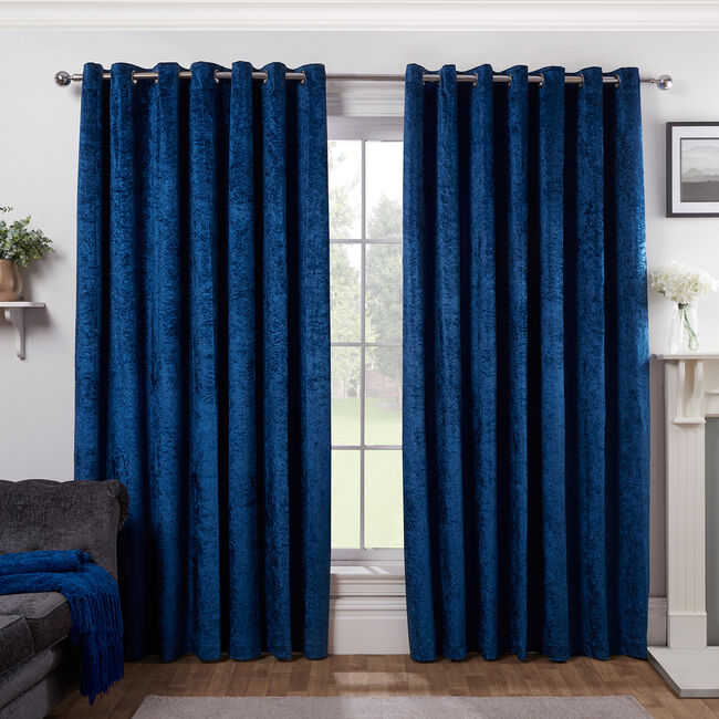 BLACKOUT&THERMAL CRUSHED VELVET NAVY 66x54 Curtain