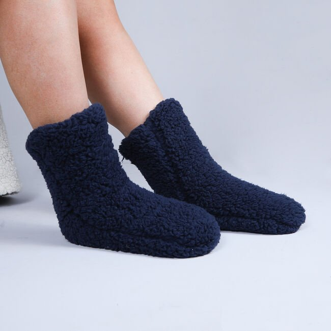 Teddy Socks Pair - Navy