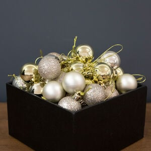 Gold Mini Baubles - 49 Pack