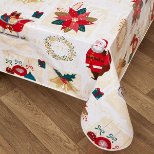 Vintage Christmas PVC Table Cloth 160 x 230cm