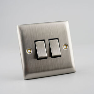 2 Gang 2 Way Switch Plate - Stainless Steel