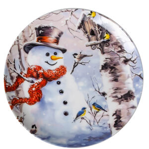 Love Christmas Snowman in Forest Cookie Plate