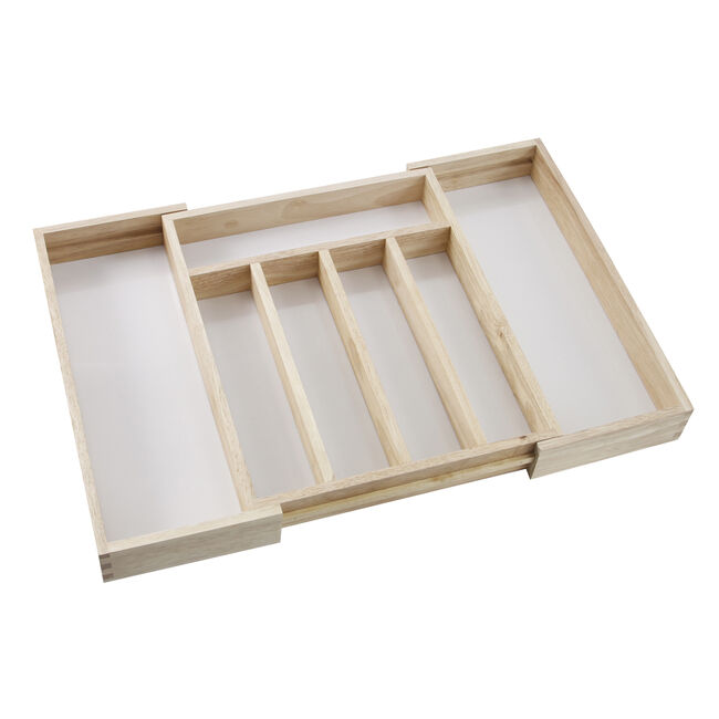 Rubberwood Extendable Cutlery Tray