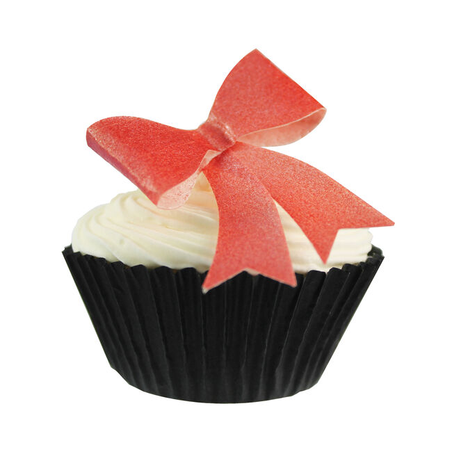 Red Metallic Bows Edible Wafer Toppers
