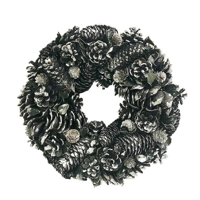 Halloween Black Pine Cone Wreath