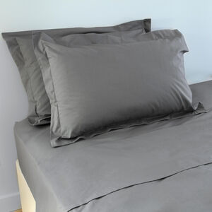 200 Threadcount Grey Oxford Pillowcase Pair