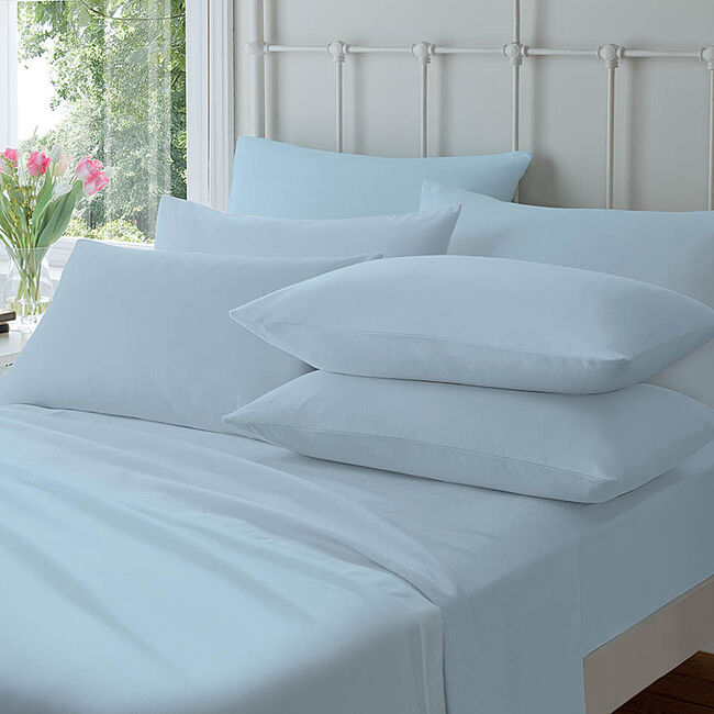 Flannelette Housewife Pillowcase Pair - Blue