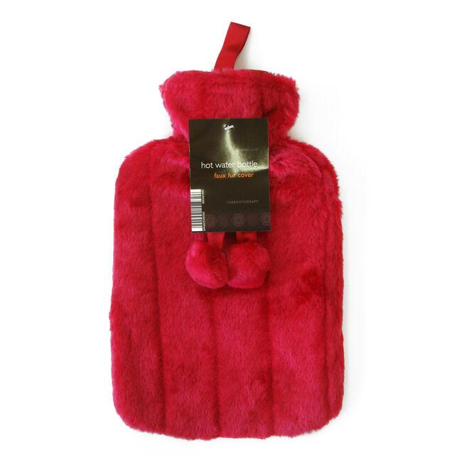 Faux Fur Pom Pom Hot Water Bottle