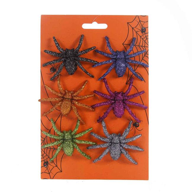 Glittered Spiders 6Pk