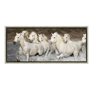 White Horses 47x108cm Framed
