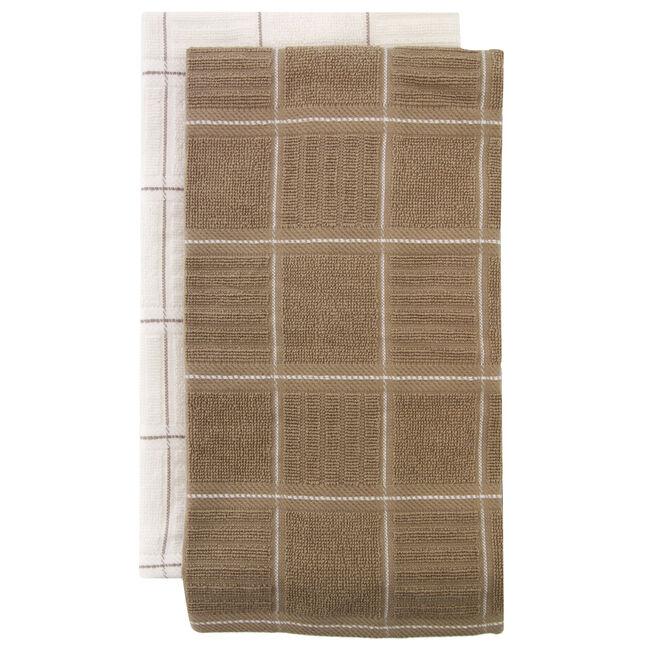 Check Kitchen Tea Towel 2 Pack Mocha