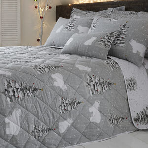 Polar Bear Grey Bedspread