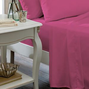 SINGLE FLAT SHEET Luxury Percale Hot Pink