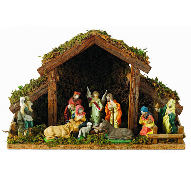 Nativity Stable with Porcelain Figures
