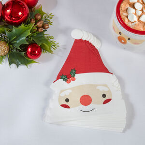 Santa Shaped Napkins 12 Pack