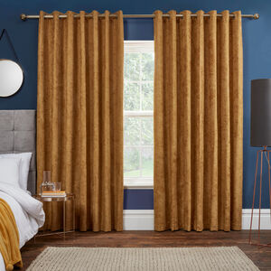 BLACKOUT & THERMAL HERRINGBONE OCHRE 66x72 Curtain