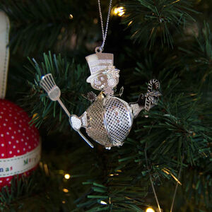 3D Hanging Snowman Decoration Silver
