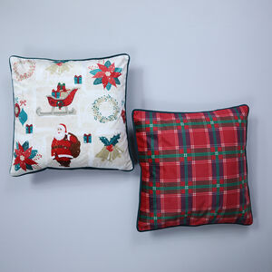 Vintage Santa Cushion Cover 2 Pack 45x45cm