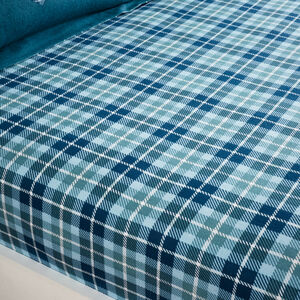 BRUSHED COTTON STAG CHECK TEAL Single Fitted Sheet
