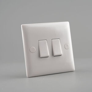 2 Gang 2 Way Switch Plate - White
