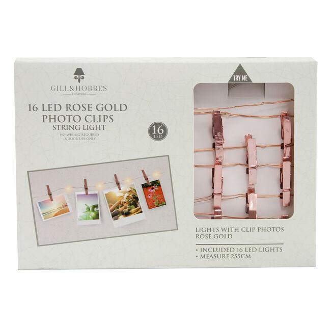 16 LED Rose Gold Photo Clips String Light