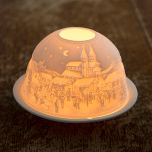 Porcelain Candle Holder Snowy Village