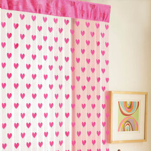 Hearts Door Curtain Pink