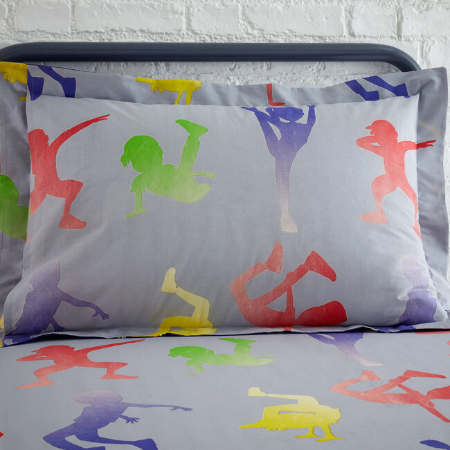Dance Moves Oxford Pillowcase Pair - Grey