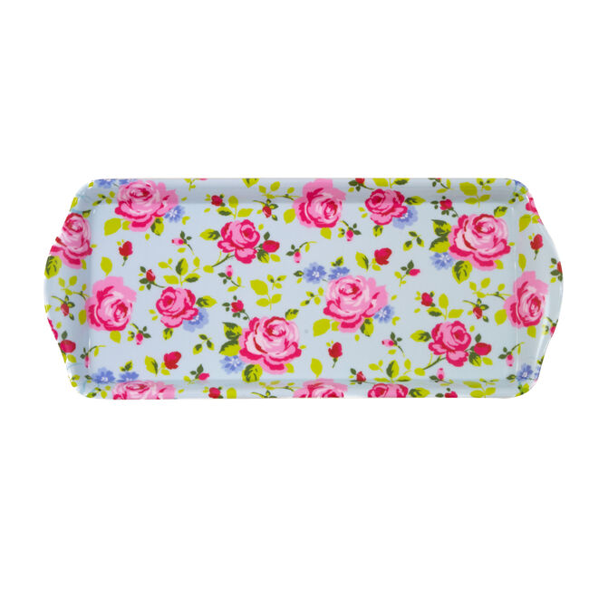 Vintage Floral Sandwich Tray Duck Egg