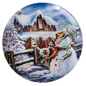 Love Christmas Snowman & Wooden House Large Plate