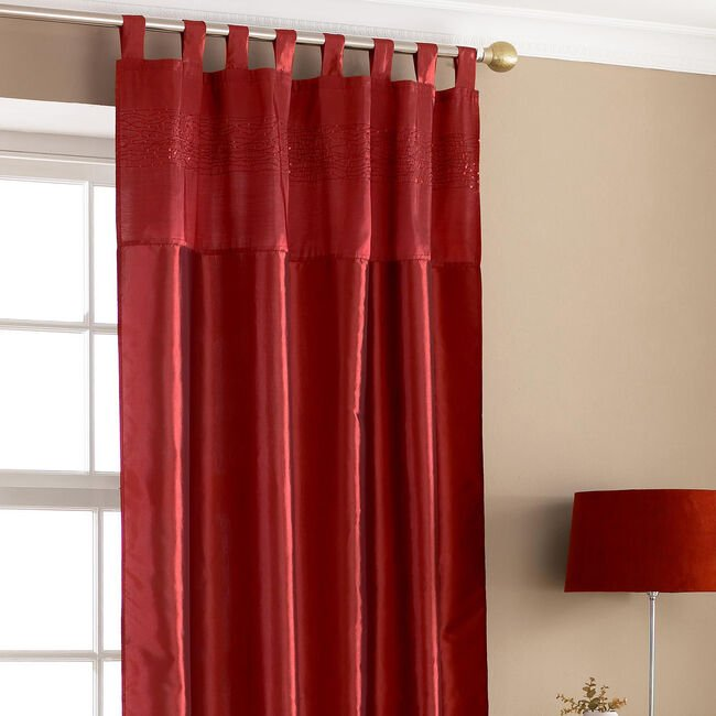 Embroidered Sequin Red Taffeta Curtain