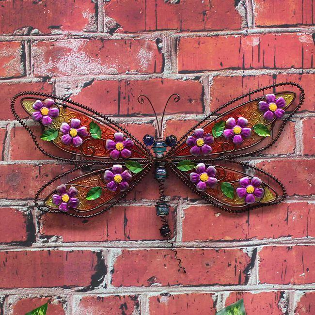 Decorative Glass Dragonfly Garden Wall Art