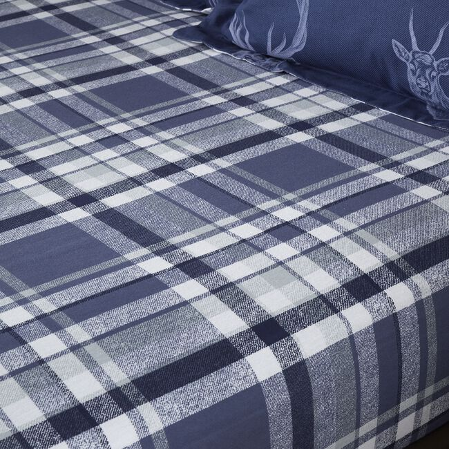 BRUSHED COTTON STAG NAVY Single Fitted Sheet