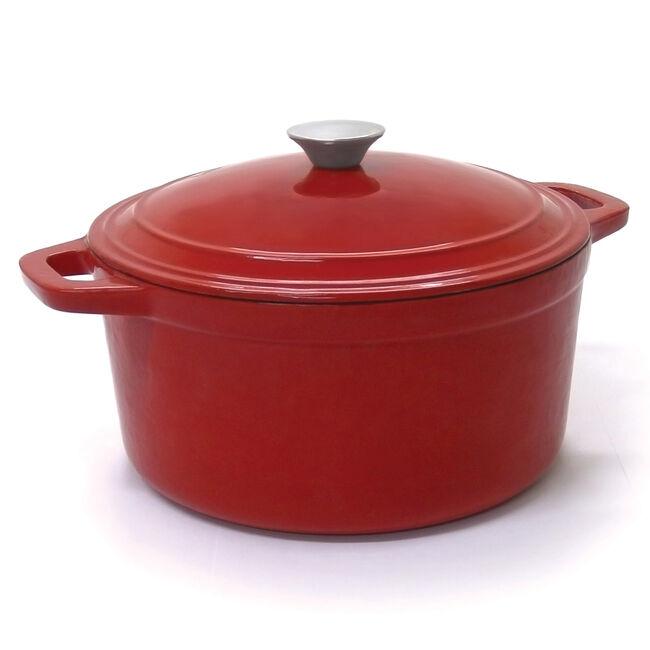 Cast Iron Round Casserole Dish Red 5.2L