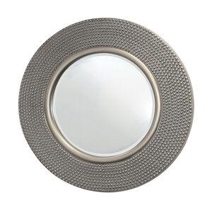 Round Hammered Antique Silver Mirror 80cm