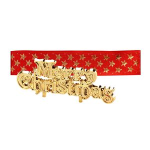 Red and Gold Merry Christmas Ribbon & Motto Set
