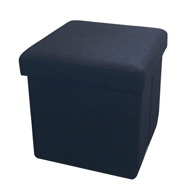 Deluxe Black Linen Folding Ottoman