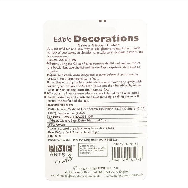 PME Edible Green Glitter Flakes 7.1g