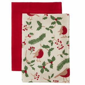 Robin and Holly Waffle Tea Towels - 2 pack