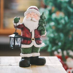 Santa With Lantern and Tree 37cm