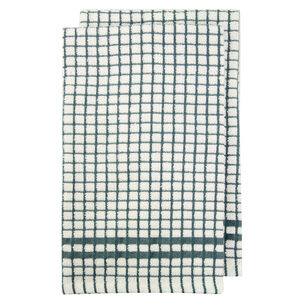 Mono Check Tea Towels 2 Pack - Duck Egg