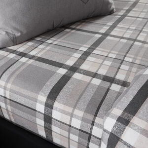 BRUSHED COTTON STAG CHARCOAL Single Fitted Sheet