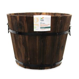 Burntwood Large Barrel Planter