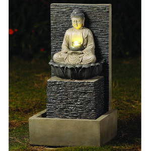 Buddha With Light Water Fountain