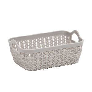 Knit Charcoal Rectangle Storage Tray 19x14cm
