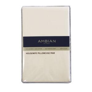 300TC Bamboo/Cotton Housewife Pillowcase Pair - Cream