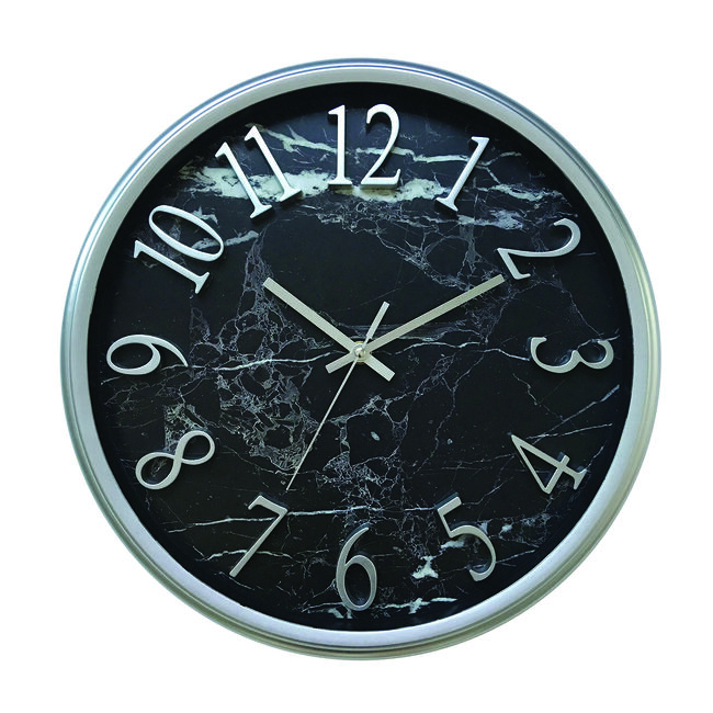 "14"" Marble Silver Clock"