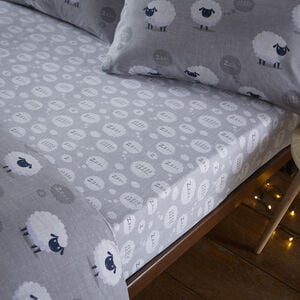 BRUSHED COTTON SHEEP GREY Single Fitted Sheet