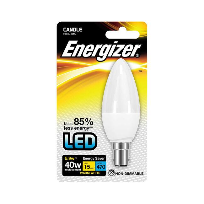 Energizer B15 LED Candle Bulb Opal 59W (EQ40W)